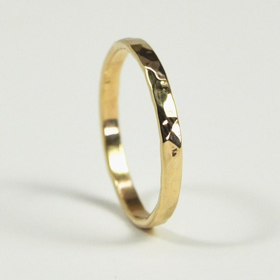 14k yellow gold ring hammered texture 2mm band by