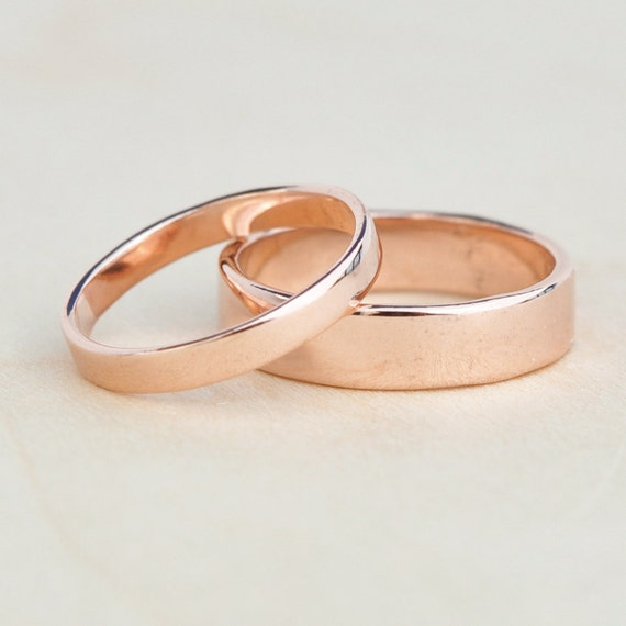 Rose Gold Wedding Set, 14K Reclaimed Gold Bands, 3mm and 5mm, Custom, Sea Babe Jewelry