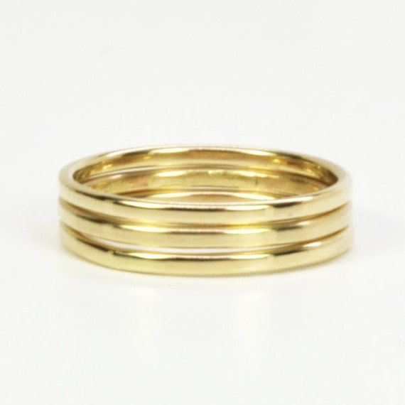 Solid 14K Yellow Gold Stacking Rings Set, Three Simple Skinny Rings Sea Babe Jewelry