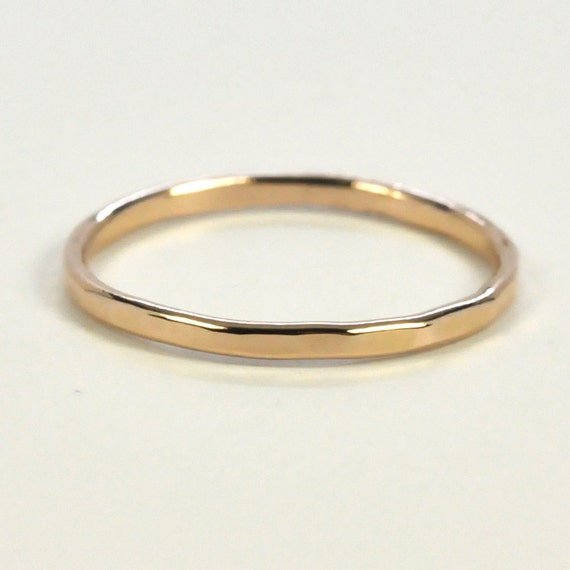 gold ring 14k 1mm band faceted by seababejewelry
