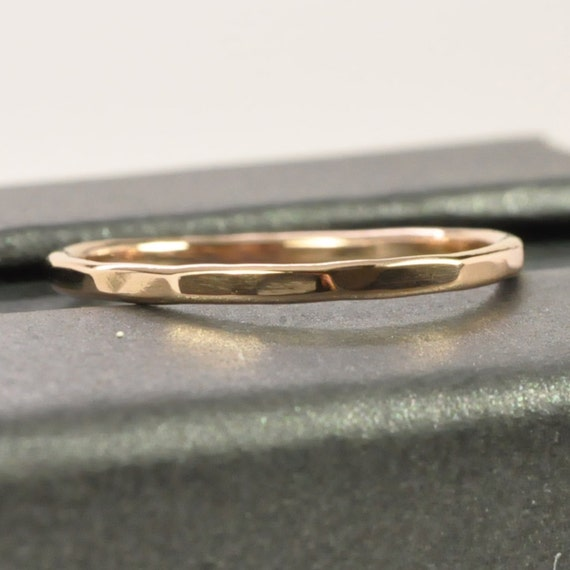 Skinny Rose Gold Ring, 14K 1mm Band, Faceted Texture, Custom Made, Recycled Gold Wedding Band, Sea Babe Jewelry