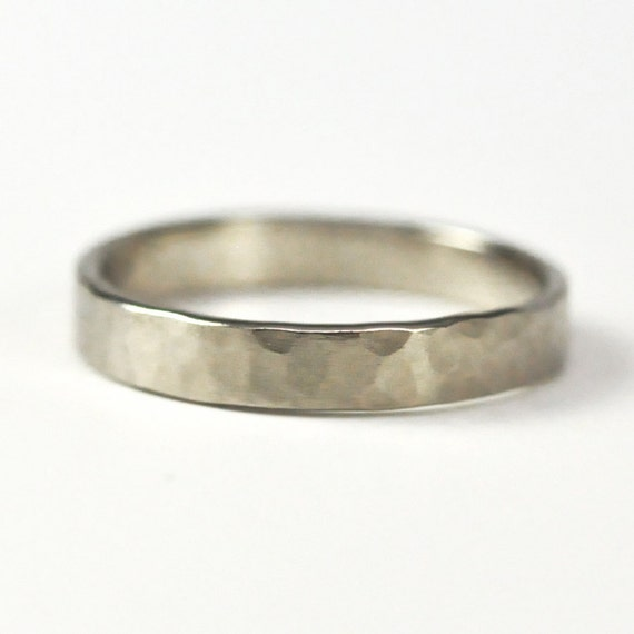 14k Palladium White Gold Hand Forged 3mm Band, Hammered Texture Matte Wedding Ring, size 6.25-9 Sea Babe Jewelry