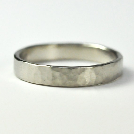 14K Palladium White Gold 4mm Wedding Band, Hand Forged, Hammered Matte, sizes 6-8 this listing, Sea Babe Jewelry
