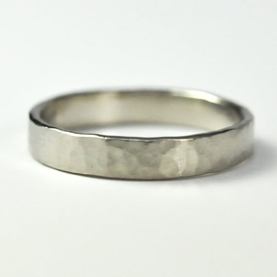 14K Palladium White Gold 4mm Wedding Band, Hammered Texture, Matte Finish, sizes 8.25-10 this listing, Sea Babe Jewelry