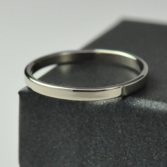 Perfect White Gold Wedding Band 2mm Wide Solid By Seababejewelry