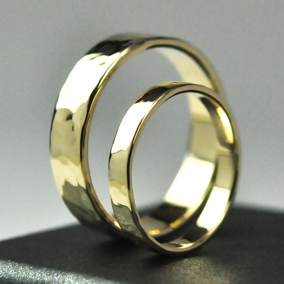 Wedding Ring Set, 14K Yellow Gold, 3mm and 5mm Wide Rings, Hammered Texture, Polished Finish