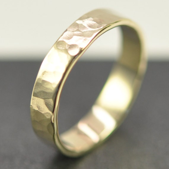 Solid 14K Yellow Gold 4mm Band or Wedding Ring, Hammered Texture, Matte Finish