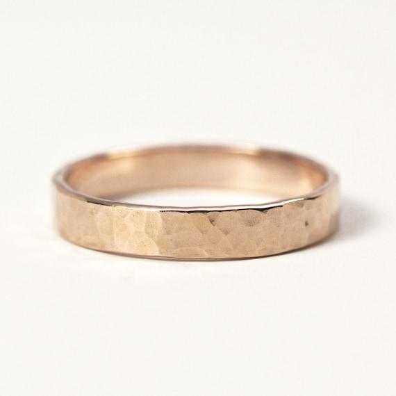 hammered gold ring 14k gold 4mm wide matte finish