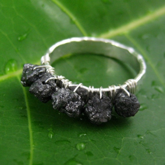 The Jaw Dropper, Hand Forged Black Rough Diamond Ring