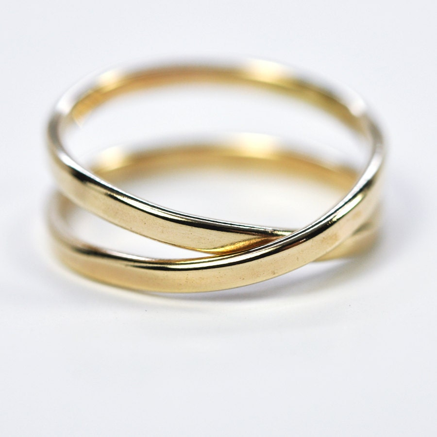 solid gold infinity ring 14k yellow gold 2mm eternity ring