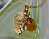 Gold Leaf Necklace, Nature Collection, briolette jewellery, gold leaf, wire wrapped briolette, by Stjern on Etsy