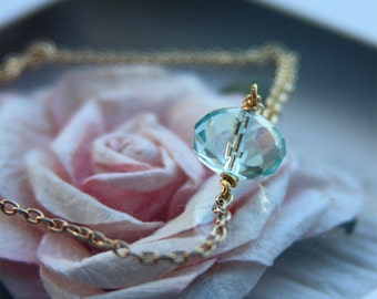 Aqua Quartz Necklace. Wire wrapped crystal, solitaire, aqua glass rondelle by Stjern on Etsy