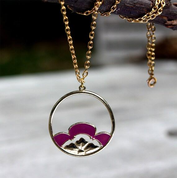 Lotus Flower Necklace. Purple enamel flower, flower necklace, exotic flower, by Stjern on Etsy