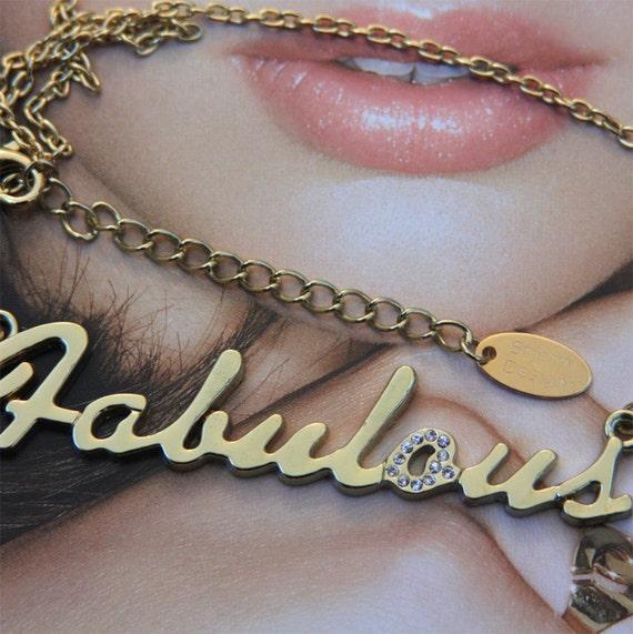 Fabulous Inscription Necklace. Inscription Jewellery. Gold inscription necklace, handwritten word, saying, text, by Stjern on Etsy