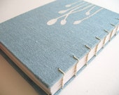 Linen fabric covered journal book - Sprout