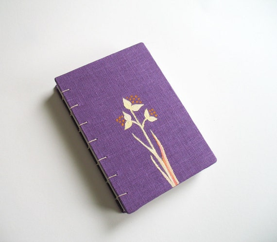 Linen fabric covered journal book - Bloom