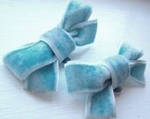 CLOSING down 50% SALE - Tiffany blue velvet bow shoe clips . one of a kind