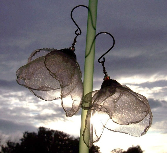 PETALS - DANCING IN THE AIR - Ivory - Limited Edition Crystal,Organza and Gold Fill Earrings