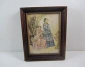 Vintage Hiawatha Genuine Needle Paintings Framed