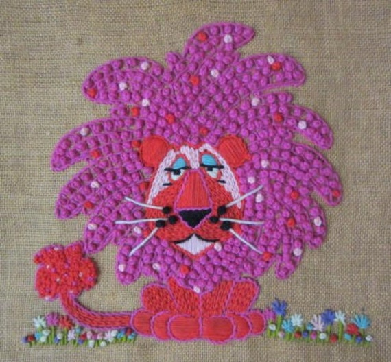 Lion Wall Hanging knotted Art - Pink Fushia red blue flowers on Burlap
