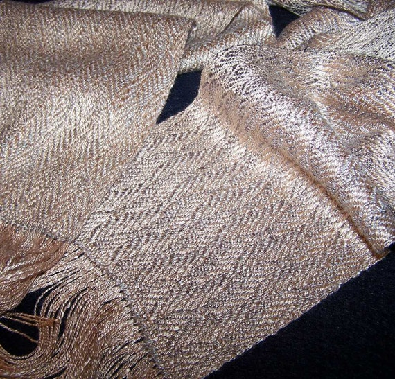 Handwoven Scarf - Rayon Peach Taupe Waves - Hand Woven Soft Scarf