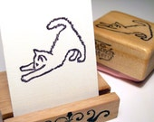 Hand Carved Rubber Stamp, Stretching Kitten