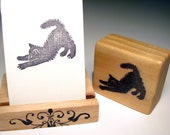 Hand Carved Rubber Stamp, Stretching Black Kitten