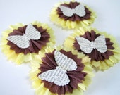 4 Crepe Paper Flowers/ Yellow and Brown with Butterfly