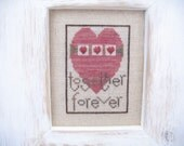 Completed cross stitch with cedar frame, together forever