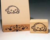 Hand Carved Stamp, Dozing Puppy