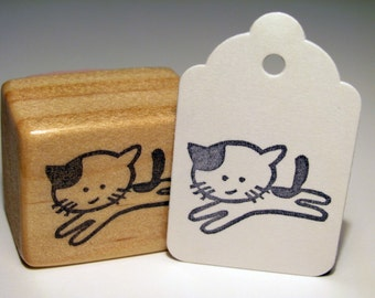 Running Kitten Hand Carved Rubber Stamp