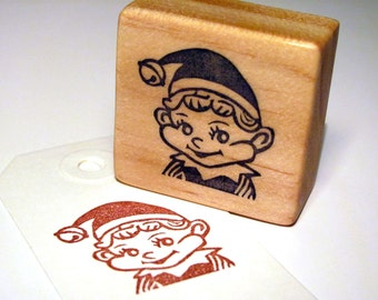 Hand Carved Rubber Stamp, Cute Elf, Christmas Stamp
