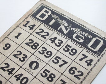 Vintage Bingo Game Card/Chipboard