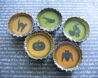 Recycled Bottle Cap Magnet, Halloween set of 5