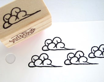 Cloud Hand Carved Rubber Stamp, Flying Cloud