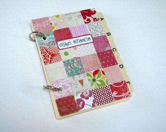 Index Card Guide Book, Open Sesame/ Paper Patchwork Covers and 25 Hand Stamped Index Note Cards/ Pink & Red