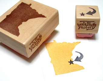 State Stamp set of 2, Hand Carved Rubber Stamp