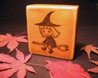 Hand Carved Halloween Stamp, Cute Little Witch