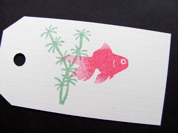 Goldfish and Water Plant, Hand Carved Stamp set of 2