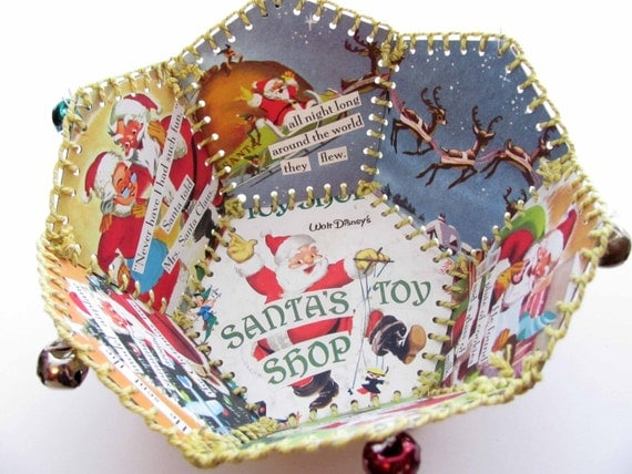 Paper Basket, Vintage Little Golden Book, Walt Disneys Santas Toy Shop