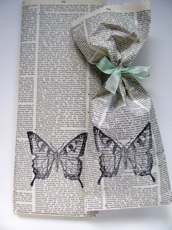 Old Encyclopedia Paper Bags, Butterfly/Set of 10