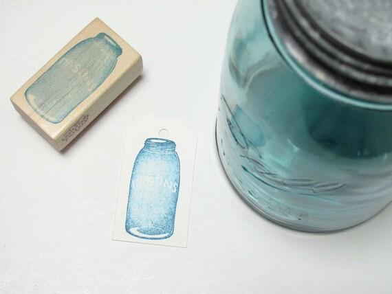 Hand Carved Rubber Stamp, Mason Jar
