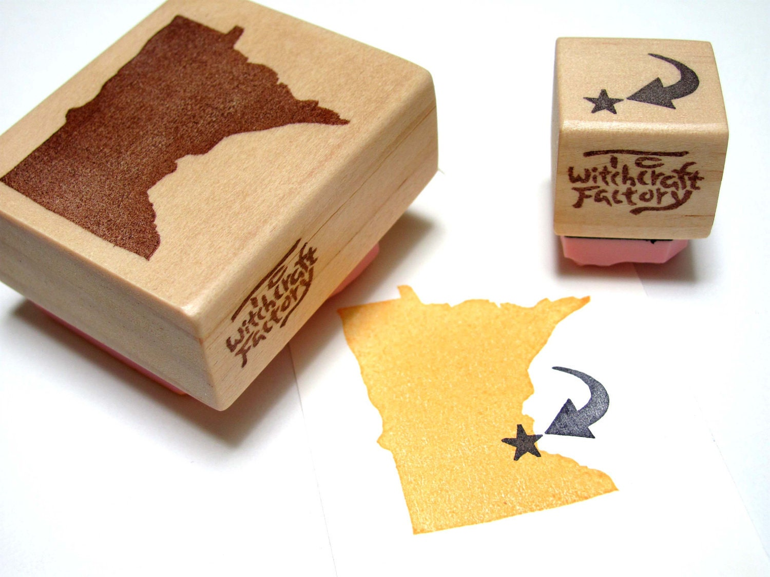State stamp set of hand carved rubber