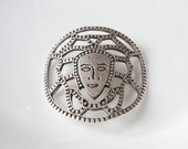 1pc- Matte Silver Plated Web design with Theatre Mask Pendant - 60x55mm - (407-006SP)