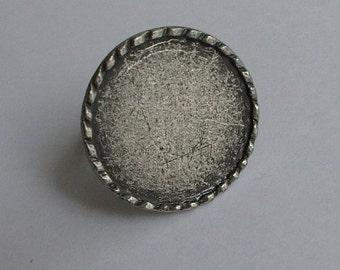 5pc- Matte Silver Plated Zamac Bezel  Ring BAse-18x25mm-(407-007SP)
