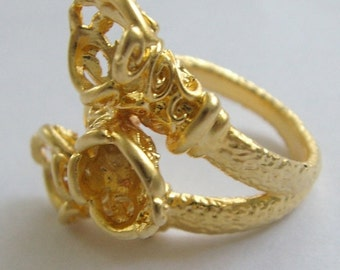 1pc- Matte Gold Plated Ivy style  three holes-8x8x9x20mm (010-032GP)