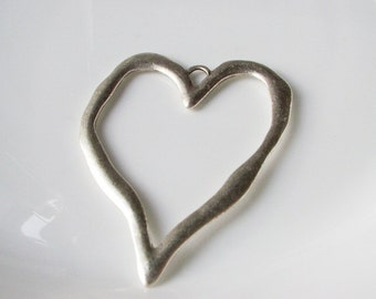 1pc- Matte Silver Plated Heart Pendant-50x60mm-(419-003SP)