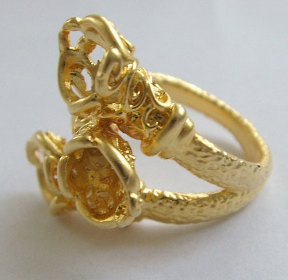 Amazing GOLD plated Ring base with three holes-1pc
