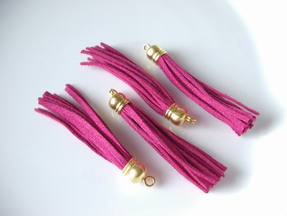 2pcs- Matte Gold Plated Chamois Pink, Fuschia color Tassel -55x5mm (017-014GP)