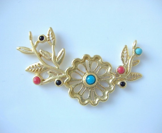 Gold plated flower colorful jade with , pendant-1